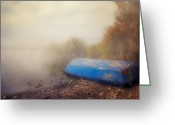 Rowing Greeting Cards - Old Boat In Morning Mist Greeting Card by Joana Kruse