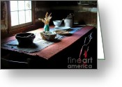 Old Relics Greeting Cards - Old Cabin Table Greeting Card by Julie Dant