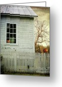 Old Wall Greeting Cards - Old farm  house window  Greeting Card by Sandra Cunningham