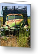 Wreck Greeting Cards - Old green truck Greeting Card by Garry Gay