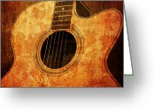Guitar Mixed Media Greeting Cards - Old Guitar Greeting Card by Nattapon Wongwean
