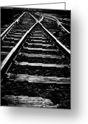 Charlestown Greeting Cards - old junction railway line at Charlestown county mayo republic of ireland Greeting Card by Joe Fox
