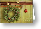 Xmas Greeting Cards - Old pair of skis hanging with wreath Greeting Card by Sandra Cunningham
