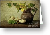 Antique Basket Greeting Cards - Old pitcher with gourds Greeting Card by Sandra Cunningham