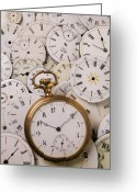 Watches Greeting Cards - Old pocket watch on dail faces Greeting Card by Garry Gay