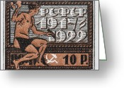 James Hill Greeting Cards - old Russian postage stamp Greeting Card by James Hill