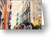 Old Street Photo Greeting Cards - Old San Juan Puerto Rico Greeting Card by Kim Fearheiley