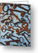 Rusted Greeting Cards - Old Skeleton Keys Greeting Card by Garry Gay