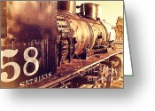 Old Postcards Greeting Cards - Old Steam Locomotive Engine 1258 . 7D10467 Greeting Card by Wingsdomain Art and Photography