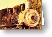 Old Postcards Greeting Cards - Old Steam Locomotive Engine 1258 . 7D10482 Greeting Card by Wingsdomain Art and Photography