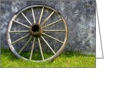 Antique Wagon Greeting Cards - Old Wagon Wheel Greeting Card by Olivier Le Queinec
