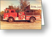 Old Postcards Greeting Cards - Old Whitney Seagrave Fire Engine At The Sunol Jazz Cafe In Sunol California . 7D10785 Greeting Card by Wingsdomain Art and Photography