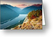Mountain Peaks Greeting Cards - On the Edge Of the World Greeting Card by Evgeni Dinev