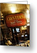 Oysters Greeting Cards - On the Half Shell Greeting Card by Scott Pellegrin