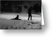 Snowy Night Digital Art Greeting Cards - One More Time Daddy Greeting Card by Lj Lambert