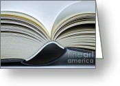 Writers Greeting Cards - Open Book Greeting Card by Frank Tschakert