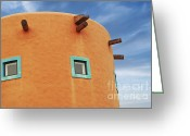 Building Detail Greeting Cards - Orange building detail Greeting Card by Blink Images
