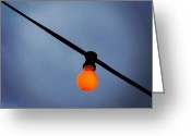 Featured Greeting Cards - Orange Light Bulb Greeting Card by Matthias Hauser