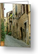 Blue Cobblestone Greeting Cards - Orvieto Lane Greeting Card by Ellen Henneke