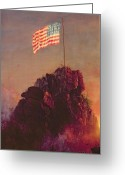 Patriotism Painting Greeting Cards - Our Flag Greeting Card by Frederic Edwin Church