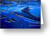 Marlin Azul Greeting Cards - Out of the blue Greeting Card by Carey Chen