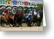 Jockeys Greeting Cards - Out of the Gate Greeting Card by David Lee Thompson