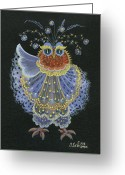 Tulip Art Botanical Art Painting Greeting Cards - Owl Greeting Card by Olena Skytsiuk