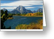 Teton National Park Greeting Cards - Oxbow Bend In Autumn Greeting Card by Greg Norrell