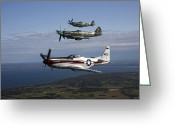 Plane Greeting Cards - P-51 Cavalier Mustang With Supermarine Greeting Card by Daniel Karlsson