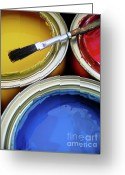 Paintbrush Photo Greeting Cards - Paint Cans Greeting Card by Carlos Caetano