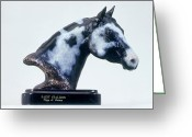 Quarter Horse Sculpture Greeting Cards - Paint Horse Stallion Greeting Card by Peggy Detmers