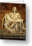 Pieta Painting Greeting Cards - Painting of Michelangelos Sculpture - Pieta Greeting Card by Rodger Underwood