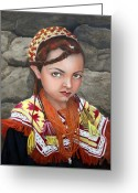 Oil Painting Greeting Cards - Pakistani Girl Greeting Card by Enzie Shahmiri