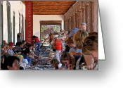 Santa Fe Digital Art Greeting Cards - Palace of the Governors Greeting Card by David Lee Thompson