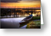 Twilight Greeting Cards - Palaffite port Greeting Card by Carlos Caetano