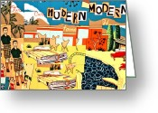 Mountain Tapestries - Textiles Greeting Cards - Palm Springs Modern Greeting Card by Bob Hoffmann