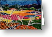 Batik Greeting Cards - Palouse Fields Greeting Card by Carolyn Doe
