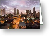 Gray Sky Greeting Cards - Panama City at night Greeting Card by Heiko Koehrer-Wagner
