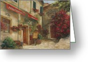 Stone Greeting Cards - Panini Cafe Greeting Card by Chris Brandley