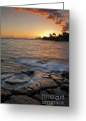 Sundown Greeting Cards - Paradise Sunset Greeting Card by Mike  Dawson