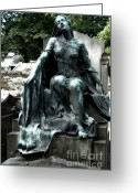 Mourner Greeting Cards - Paris - Gothic Female Mourner - Pere La Chaise Cemetery Greeting Card by Kathy Fornal