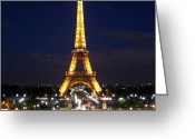 Picoftheday Greeting Cards - Paris By Night Greeting Card by Luisa Azzolini