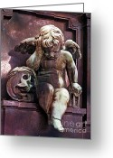 Surreal Gothic Angel Photography Greeting Cards - Paris Cemetery - Pere La Chaise - Cherub and Skull Greeting Card by Kathy Fornal