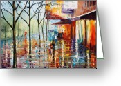 Architecture Painting Greeting Cards - Paris Greeting Card by Leonid Afremov
