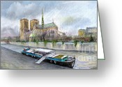 Paris Pastels Greeting Cards - Paris Notre-Dame de Paris Greeting Card by Yuriy  Shevchuk