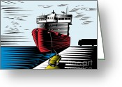 Cargo Greeting Cards - Passenger Ship Ferry Boat Anchor Retro Greeting Card by Aloysius Patrimonio