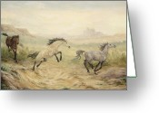 Wild Horse Greeting Cards - Passing Through Greeting Card by Cathy Cleveland