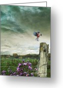 Amimal Greeting Cards - Pastoral scene with old fence and cows in background Greeting Card by Sandra Cunningham
