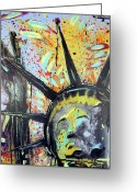 Lowbrow Mixed Media Greeting Cards - Peace and Liberty Greeting Card by Robert Wolverton Jr