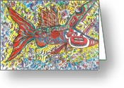 Tribal Drawings Greeting Cards - Peace Funky Folk Fish Greeting Card by Robert Wolverton Jr